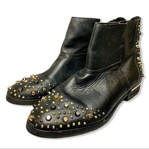 Modern Vice Black Leather Studded Madge Booties